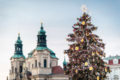Christmas tree on Prague Old Town Square Stock Photography