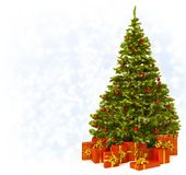Christmas Tree with Present Gift Boxes, Decorated Xmas Tree over royalty free stock photography