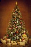 Christmas tree present gift boxes, new year xmas decoration Royalty Free Stock Photos