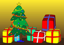 Christmas tree and presents Royalty Free Stock Photos