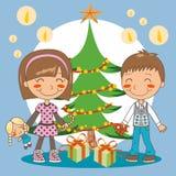 Christmas tree presents Stock Image