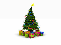 Christmas tree and presents. 3d render of a Christmas tree and presents Stock Photos
