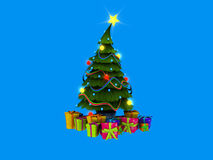 Christmas tree and presents. 3d illustration of Christmas presents isolated on white Royalty Free Stock Images