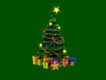 Christmas tree and presents. 3d illustration of Christmas presents isolated on white Royalty Free Stock Photo
