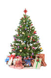 Christmas tree with presents. Beautiful christmas tree  on white background - studio shot Royalty Free Stock Photography