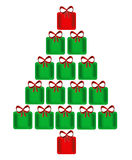 Christmas Tree Of Presents. Design of a bright, shining Christmas tree made of green and red presents each with a red bow on top and isolated on a white Royalty Free Stock Photography