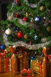 Christmas tree and presents stock images