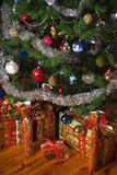 Christmas tree and presents. Decoration stock photo