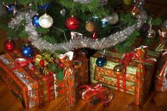 Christmas tree and presents. Decoration stock image