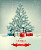Christmas tree with presents background. Stock Images
