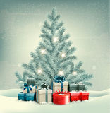 Christmas tree with presents background. Royalty Free Stock Photos