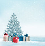 Christmas tree with presents background. Stock Photography