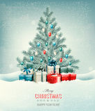 Christmas tree with presents background. Stock Photos