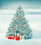Christmas tree with presents background. Royalty Free Stock Photo