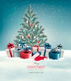 Christmas tree with presents background. Stock Photo
