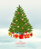 Christmas tree with presents background. Royalty Free Stock Images