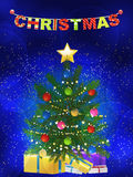 Christmas tree and presents blue background Royalty Free Stock Photography