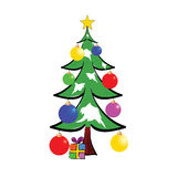 Christmas tree with presents color vector Stock Photo