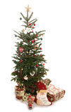 Christmas tree and presents cutout. Christmas tree and presents studio cutout ortrait stock photo
