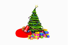 Christmas tree and presents. 3d render of Christmas tree and presents Royalty Free Stock Photos