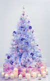 Christmas Tree Presents, Decorated Xmas Tree Blue Gifts Stock Photos