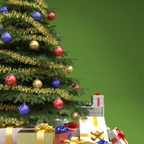 Christmas tree with presents detail. Close up of decorated christmas tree with many presents on green background with copy space on right Royalty Free Stock Photos