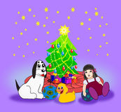 Christmas tree with Presents Stock Photography