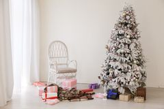 Christmas tree with presents, Garland lights new year. 1 royalty free stock photography