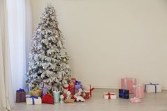 Christmas tree with presents, Garland lights new year. 4 stock image