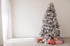 Christmas tree with presents, Garland lights new year. Christmas tree with presents, Garland new year royalty free stock photos