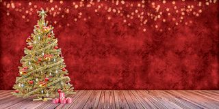 Christmas tree with presents, gift card template. Christmas tree with presents on a wooden floor, gift card template, backdrop, dark red background,bokeh lights stock photography