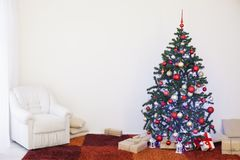 Christmas tree with presents home for the new year Stock Image