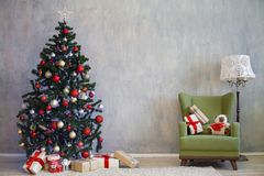 Christmas tree with presents home for the new year Stock Images