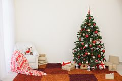 Christmas tree with presents home for the new year Royalty Free Stock Images