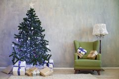 Christmas tree with presents home for the new year Royalty Free Stock Image