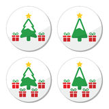 Christmas tree with presents icons set Stock Photo
