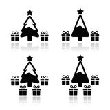 Christmas tree with presents icons set Stock Images