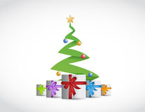 Christmas tree and presents illustration design Stock Images