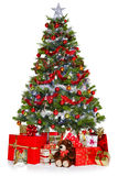 Christmas tree and presents isolated on white Royalty Free Stock Images