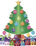 Christmas Tree Presents Ornaments Illustration stock illustration