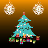 Christmas Tree with Presents Royalty Free Stock Photos