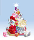 Christmas tree presents stacked stock illustration