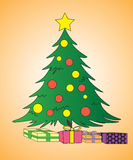 Christmas tree and presents. With star on top, vector Royalty Free Stock Photo