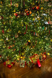 Christmas tree with presents. Presents under the Christmas tree Royalty Free Stock Images