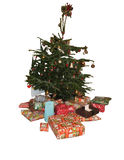 Christmas tree and presents. A Christmas tree with presents under isolated on white background royalty free stock photos