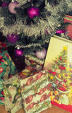 Christmas tree with presents under it. Christmas tree with many presents under it stock photography