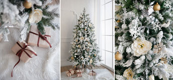 Christmas tree with presents underneath in living room. Collage royalty free stock photography