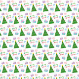 Christmas Tree and Presents Vector Pattern Royalty Free Stock Image