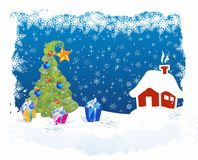 Christmas tree and presents, Royalty Free Stock Images