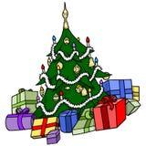 Christmas Tree with Presents. Xmas Cartoon Illustration, Vector Royalty Free Stock Image